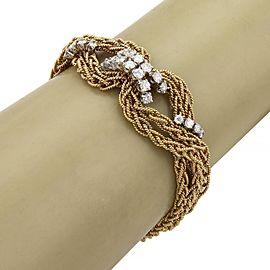 Vintage 2ct Diamond 18k Gold Infinity Knot 4 Strand Chain Bracelet