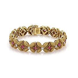 Vintage 3.40ct Diamond & Ruby 18k Yellow Gold Beaded Floral Link Bracelet