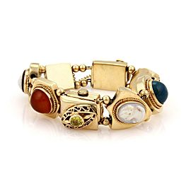 Vintage Multicolor Gems Hand Wind Watch 14k Gold 8 Slide Charms Bracelet