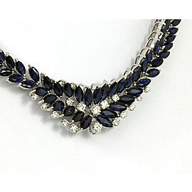 Estate 48 Carats Diamond & Sapphire 18k White Gold Floral Graduated Necklace