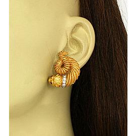 Unique Diamonds & Rubies 22k Yellow Gold Asian Dragon Huggie Earrings