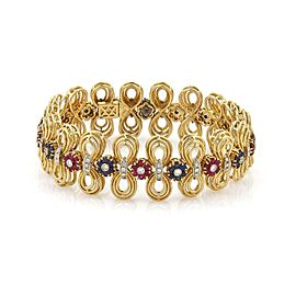 Estate 5.5ct Diamond Sapphire Ruby 18k Gold Floral Loop Link Bracelet