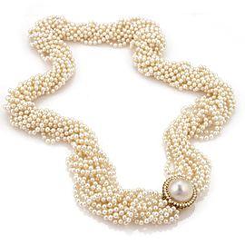 Estate 1ct Diamond Mable & Multi-Strand Long Pearl Necklace