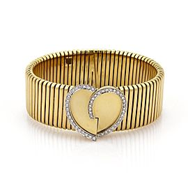 Stelios Diamonds 18k Yellow Gold Heart Wide Flex Band Bracelet
