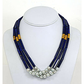 BEAUTIFUL 22K YELLOW GOLD 3 STRAND BLUE LAPIS & LUSTROUS PEARLS LADIES NECKLACE