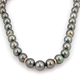 Estate 14K White Gold South Sea Tahitian Pearl Necklace with Diamonds 18.75""