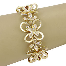 Estate 18K Yellow Gold 3.40ctw Diamond Flower Link Bracelet