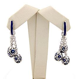18K White Gold Faberge Enamel Egg Tassel Dangle Earrings