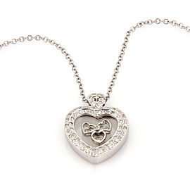 Estate 14K White Gold Italian Floating Diamond Heart Pendant Necklace