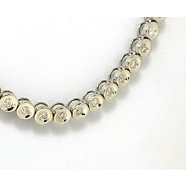 "Estate 4.05ct Diamond 14k White Gold Round Link Necklace 30.25"" Long"
