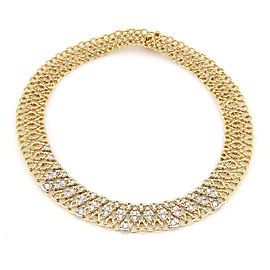 Garavelli Italy 18K Yellow Gold 4ct Diamond Mesh Link Designer Necklace