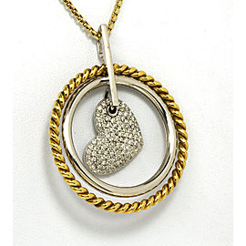 1.15ct Diamond 14k Two Tone Gold Circles & Heart Pendant & Chain Necklace