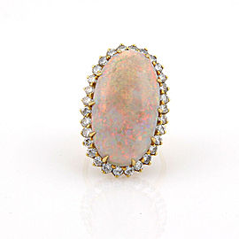 Estate 18K Yellow Gold 14.5ct Opal & Diamond Ring / Pendant