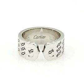 Cartier Limited Edition Double C 18kt W/Gold 8mm Band Ring Size EU 51-US 5.7 Box