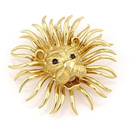 Magnificent 18K Yellow Gold Large Lion Head Sapphire Pin / Brooch Pendant 85 grm