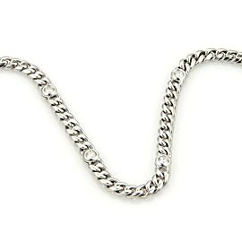 "Magnificent 14k White Gold 4ct Diamonds 30"" Long Curb Link Chain Necklace Italy"