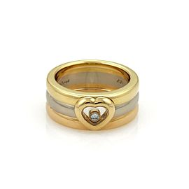 Chopard Happy Diamond 18k Tri-Color Gold Floating Diamond Heart 3 Band Ring Size 6