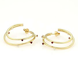 Tiffany & Co. 18k Yellow Gold Diamonds & Rubies Double Hoop Earrings