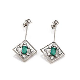14k White Gold 4.20ct Diamond & Emerald Fancy Drop Dangle Earrings