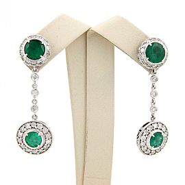 Estate 14K White Gold Emerald & Diamond Dangle Drop Earrings