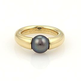 Cartier Tahitian 8mm Pearl 18k Yellow Gold Ring Size EU 49-US 5