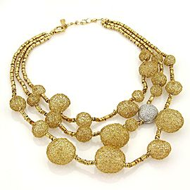 Orlandini 2.25ct Diamonds 18k Gold Mesh Balls Triple Strand Drape Necklace Italy