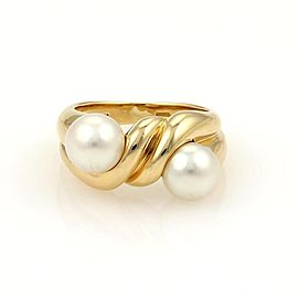 Bulgari Bulgari 18k Yellow Gold & Two 7mm Pearls Twisted Design Band Ring Size 6