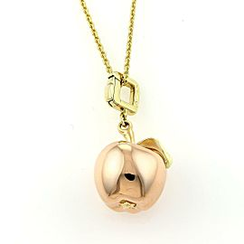Louis Vuitton 18k Tri-Color Gold Apple Pendant & Chain Necklace