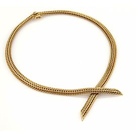 Vintage 14k Yellow Gold Basket Weave Design Crossover Necklace