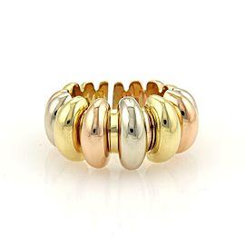 Bvlgari Bulgari 18k Tri-Color Gold Fancy Design Tapered Open Band Ring Size 7