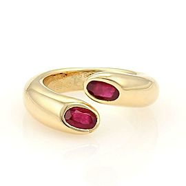 Cartier 1.20ctw Ruby 18k Gold Ellipse Deux Tetes Croisees Bypass Ring Size 6