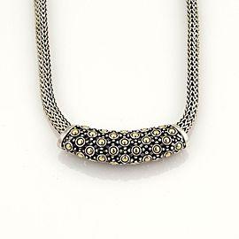 John Hardy Classic 925 Silver 18k Gold Dot Slide Pendant Woven Necklace