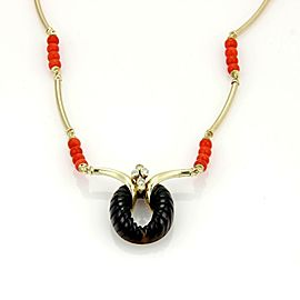 Vintage 14k Yellow Gold Diamonds Onyx & Coral Bead Necklace