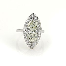 Vintage 3.85ct Diamonds 14k White Gold 2 Solitaires Ladies Cocktail Ring