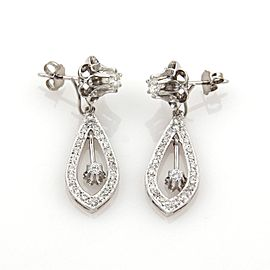 Estate 1.40ct Diamonds 14k Gold Double Style Studs & Drop Dangle Earrings