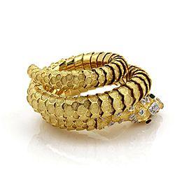 Vintage Diamond & Sapphire 18k Gold Textured Snake Flex Wrap Bracelet