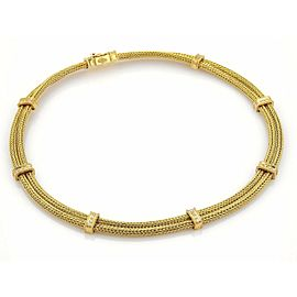 Estate 18k Yellow Gold Diamond 9 Station Double Foxtail Mesh Chain Necklace