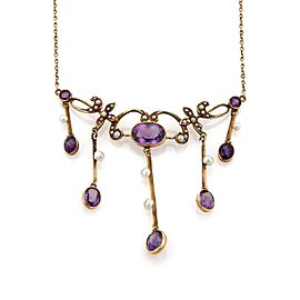 Victorian 4ct Amethyst & Seed Pearl 14k Rose Gold Floral Pendant Necklace