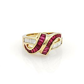 Estate 2.50ct Diamond & Ruby Fancy Ribbon Style Ring in 18k Yellow Gold