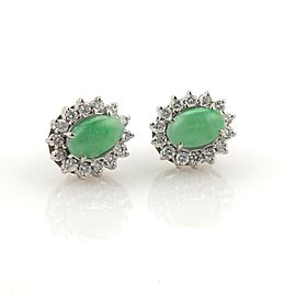 Estate 1ct Diamonds Cabochon Jade 14k White Gold Oval Stud Earrings