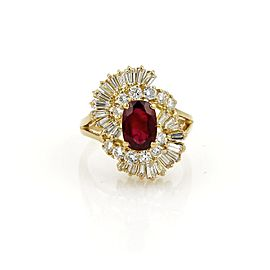 Estate 2.65ct Diamond & Ruby 18k Yellow Gold Fancy Cocktail Ring Size 4.5