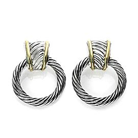 David Yurman Sterling Silver & 14k Gold Cable Hoops Dangle Earrings