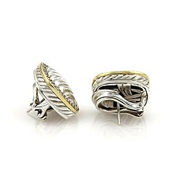 David Yurman Diamond Sterling Silver 18k Yellow Gold Cable Post Clip Earrings