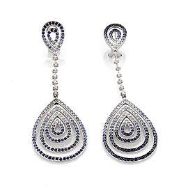 18k White Gold 4.30ct Diamond & Sapphire Fancy Drop Dangle Earrings