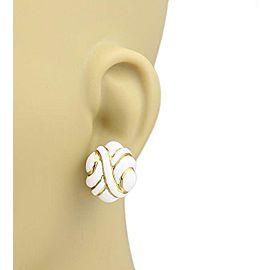 David Webb White Enamel 18k Yellow Gold Fancy Post Clip Earrings