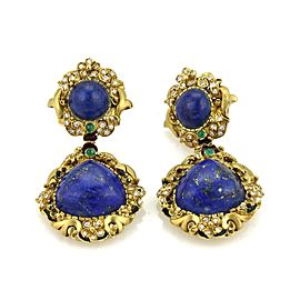 Vintage 1.70ct Diamond & Emerald Lapis Enamel Floral Drop Dangle Earrings