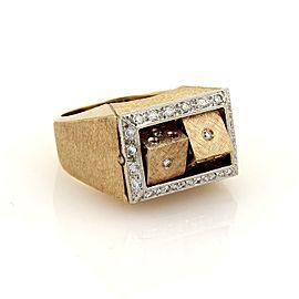 Estate Diamond 14k Rose Gold Double Spinning Dice Gambler Ring Size 8