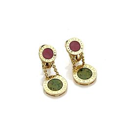 Bulgari Bulgari Coral & Jade 18k Yellow Gold Disc Drop Dangle Earrings