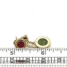 Bvlgari Bulgari Coral & Jade 18k Yellow Gold Disc Drop Dangle Earrings