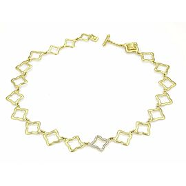 David Yurman Diamond All Around Quatrefoil Link 18k Yellow Gold Necklace